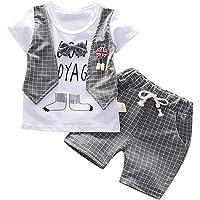 SiQing - Conjunto de ropa de verano para niños y bebés, playera con lazo, pantalones cortos de mezclilla