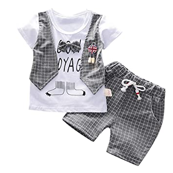 07a19edb94d03 Cyhulu Infant Boys Short Sleeve Letter Print Bowtie T-shirt Top+ ...