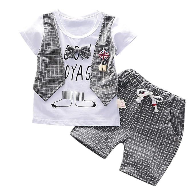 Fossen Ropa Bebe Niño Verano 2019 - Camiseta Manga Corta + Pantalones Cortos a Cuadros - para 0-3 Años Recien Nacido Bebé Conjunto de Dos Piezas