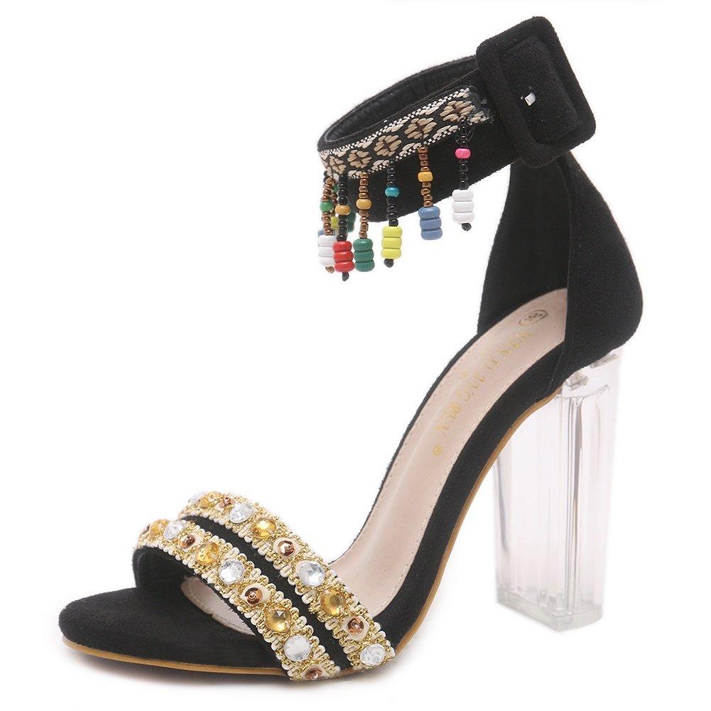 SASA Sandales à Talons Hauts pour Femmes Sauvages été Nouveau Nouveau Nouveau Poisson Bouche perlé Strass épais avec des Sandales Transparentes, EU39 UK6 0c7