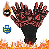 SARCCH BBQ Gloves-Protective Grill Mitts,1472℉ Heat Resistant Grilling Gloves,Silicone Kitchen Cooking Oven Mitts, for Grill,Baking,Fireplace, Boiling