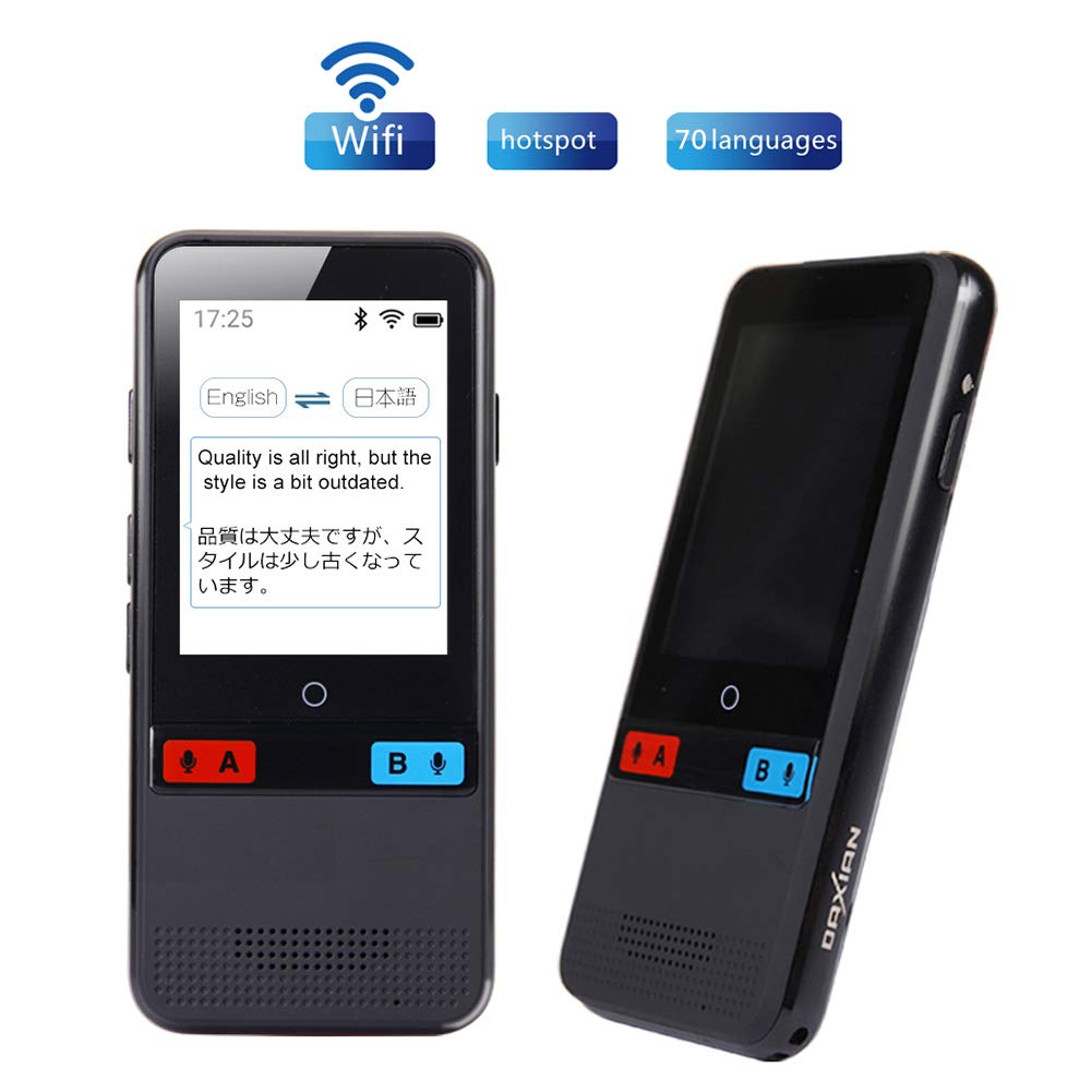 Foreign Language Translator Device,Real-time Two-Way Offline Speech/Text WiFi 2.4 inch IPS Touch Screen Support 70 Languages for Learning Travel Business Shopping English Spanish Etc(Black)
