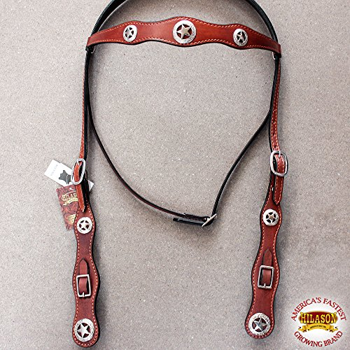 - HILASON American Leather Draft Horse Bridle Headstall Oversize Chestnut