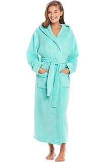 Alexander Del Rossa Womens Plush Fleece Robe with Hood ...