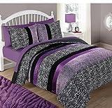 CA 3 Piece Girls Violet Purple Glitter Cheetah Print Comforter Full Queen Set, Black White Zebra Stripes Bedding Plum Spotted Animal Print Safari Jungle Zoo Wild Exotic, Reversible Solid Polyester