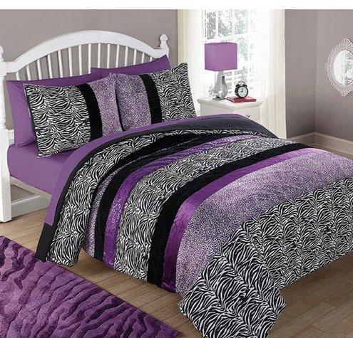 CA 3 Piece Girls Violet Purple Glitter Cheetah Print Comforter Full Queen Set, Black White Zebra Stripes Bedding Plum Spotted Animal Print Safari Jungle Zoo Wild Exotic, Reversible Solid Polyester by CA (Image #2)