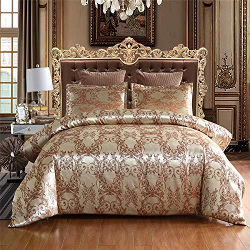 A Nice Night Bedding European Paisley Damask Design Jacquard Duvet Cover Set King,Champagne (Bedding Champagne)