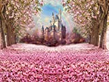 Muzi Photography Backdrop Fairy Tale Castle Beautiful Pink Woods Children Princess Girls Photo Booth Backdrop Studio Props with Flowers on the Floor in Spring 6.5x5ft W-314
