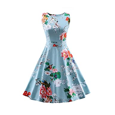 ff9d61c6862 Blue Summer Dress Women s Vintage Dress Plus Size Elegant Floral Print  Sleeveless Dress Casual Evening Party
