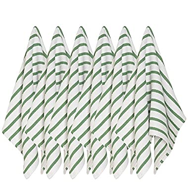 Now Designs Basketweave Kitchen Towel, Set of Six, Verde Green