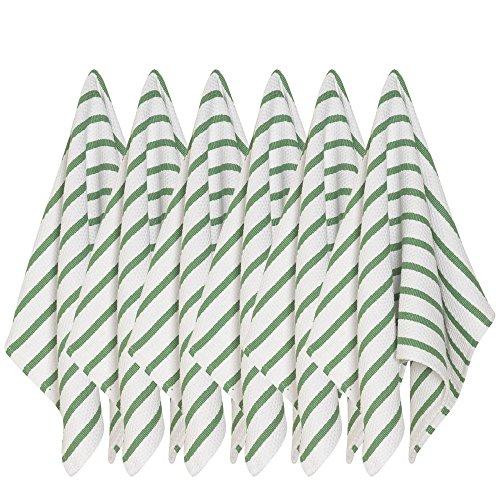 Now Designs Basketweave Kitchen Towel, Set of Six, Verde Green (25 Verde Green)