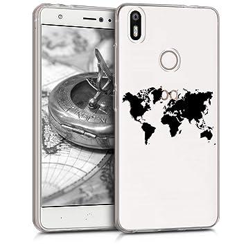 kwmobile Funda para bq Aquaris X/X Pro - Carcasa de [TPU] para móvil y diseño de Mapa del Mundo en [Negro/Transparente]