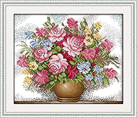 Full Range of Embroidery Starter Kits Stamped Cross Stitch Kits Beginners for DIY Embroidery with 40 Pattern Designs Cartoon owl