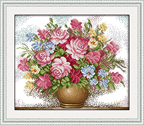 Full Range of Embroidery Starter Kits Stamped Cross Stitch Kits Beginners for DIY Embroidery with 40 Pattern Designs - Pink Roses ()