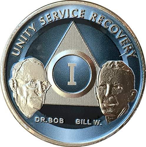 wendells 1 Year Founders AA Medallion Titanium Nickel Plated Sobriety Chip Bill W & Doctor Bob