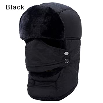 fe7a7e70afb305 VJUKUB Men Women Unisex Warm Trapper Aviator Trooper Earflap Winter Ski Hat  With Mask,Black