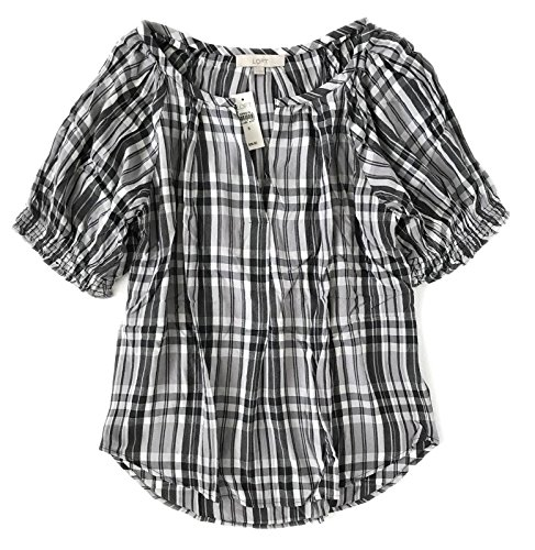 Ann Taylor Loft Loft   B W Plaid Puff Sleeve Peasant Top  Small