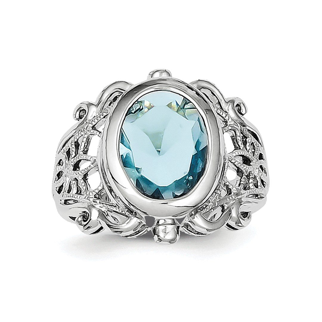 ICE CARATS 925 Sterling Silver Blue Glass Band Ring Size 7.00 Fine Jewelry Ideal Gifts For Women Gift Set From Heart