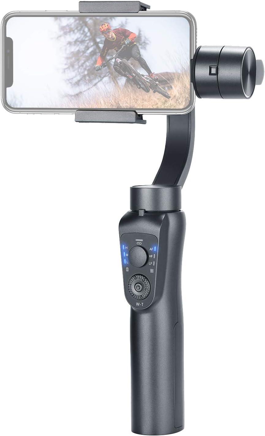 Neewer Cardán Estabilizador Mano 3-Eje con Control Zoom Auto Seguimiento 2 Maneras Carga USB para iPhoneXs MAX XR X 8Plus 8 7 6 Smartphone Samsung Galaxy S9+ S9 S8+ S8 S7 Huawei