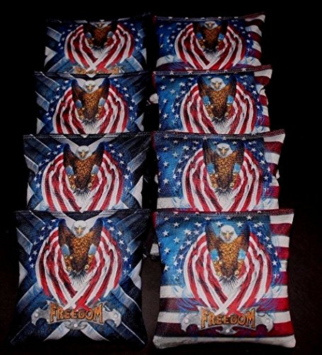 USA FLAG PATRIOTIC BALD EAGLE FREEDOM 8 ACA regulation custom Cornhole bags B118 by BackYardGamesUSA