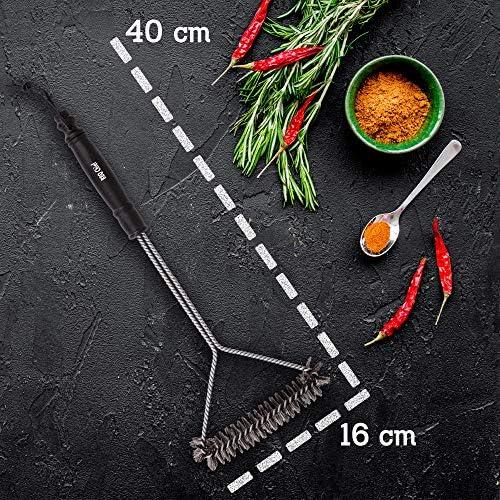 BBQ Chief Brosse de Barbecue Professionnelle en Acier Inoxydable avec Manche Long en Acier Inoxydable pour grilles en Fonte, Rouille en Acier Inoxydable et roste chromée.