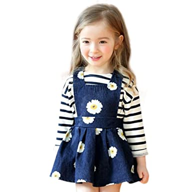 c278175861c7 Sunbona Little Baby Girls Princess Fashion Sleeveless Denim Strap Dress  Casual Party Outfits Clothes (2T