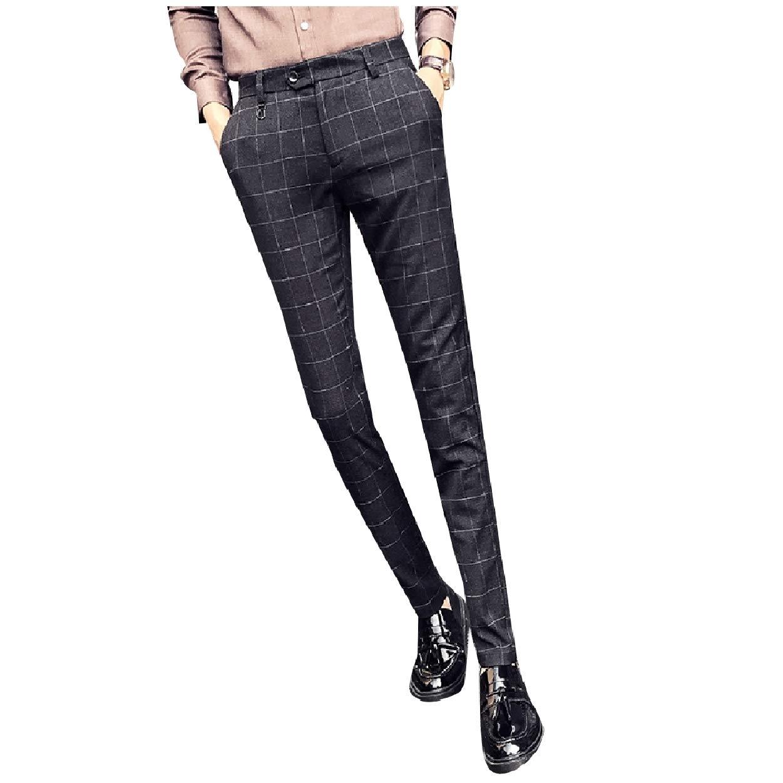 SportsX Mens No-Iron Skinny Fit Wrinkle-Free Plain-Front Dress Pants