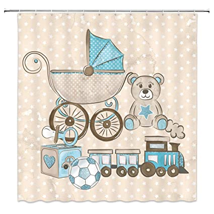 Qianliansheji Cartoon Bear Shower Curtain Stroller Thomas Small Train Bathroom Accessories Tasteless