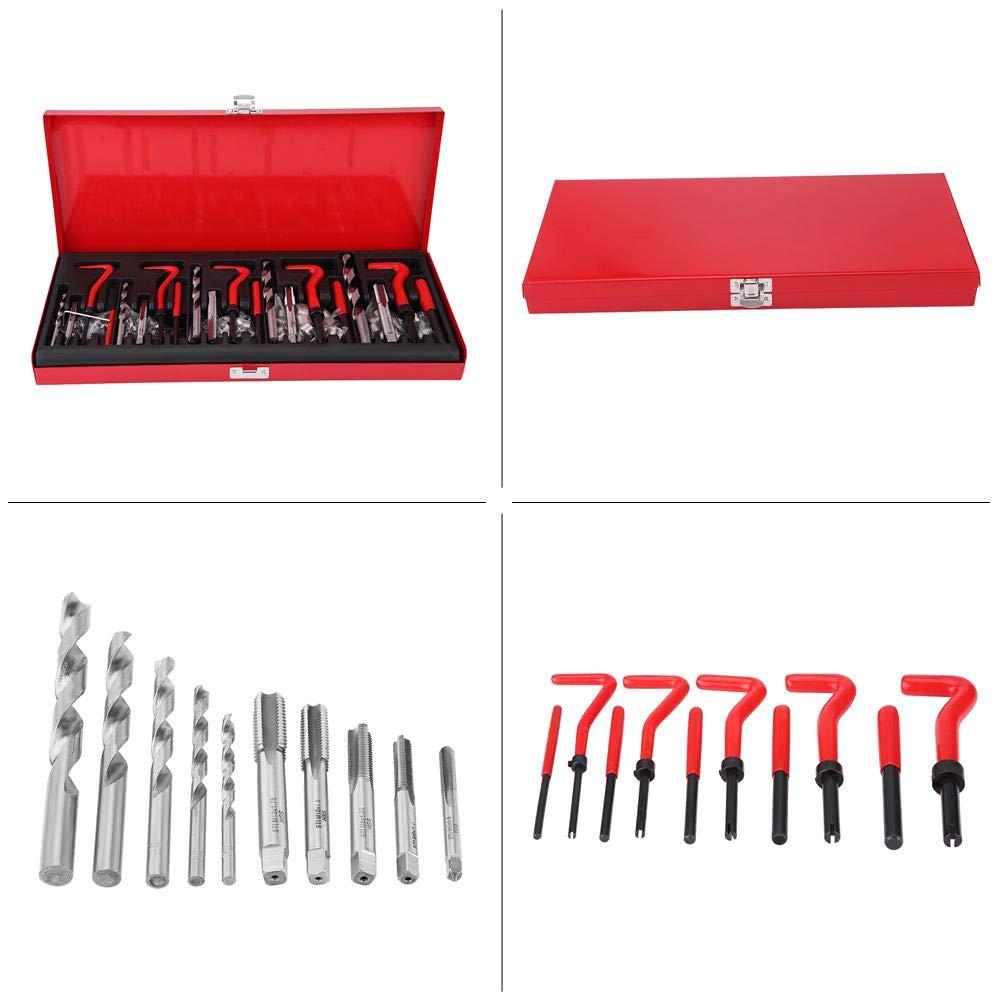 Cuque Helicoil Type Thread Repair Kit 131Pcs Thread Repair Tool Kit M5//M6//M8//M10//M12 Tap Twist Drill Bits Insert Set