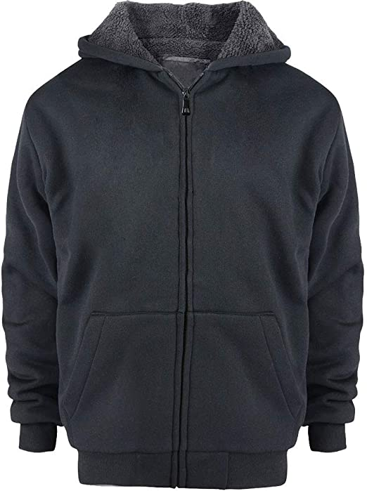 Sherpa Lined ZIP FRONT Size S 6-7 Boys NAVY BLUE HOODED SWEAT JACKET Thick