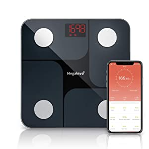 Smart Body Fat Scale, Wireless Bathroom Weight Scale Body Composition Monitor Health Analyzer with Smartphone App for Body Weight, Fat, Water, BMI, BMR, Muscle Mass - Black