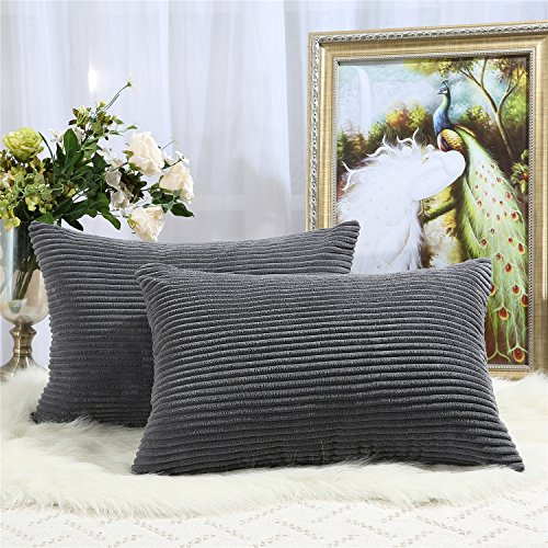 Miaote Pack of 2 Decorative Throw Pillow Covers Cases for Couch Bed Sofa,Striped Corduroy Velvet Cushion Covers for Baby, 16 X 24 Inches,Dark Grey (X 24 16 Pillow Cover)