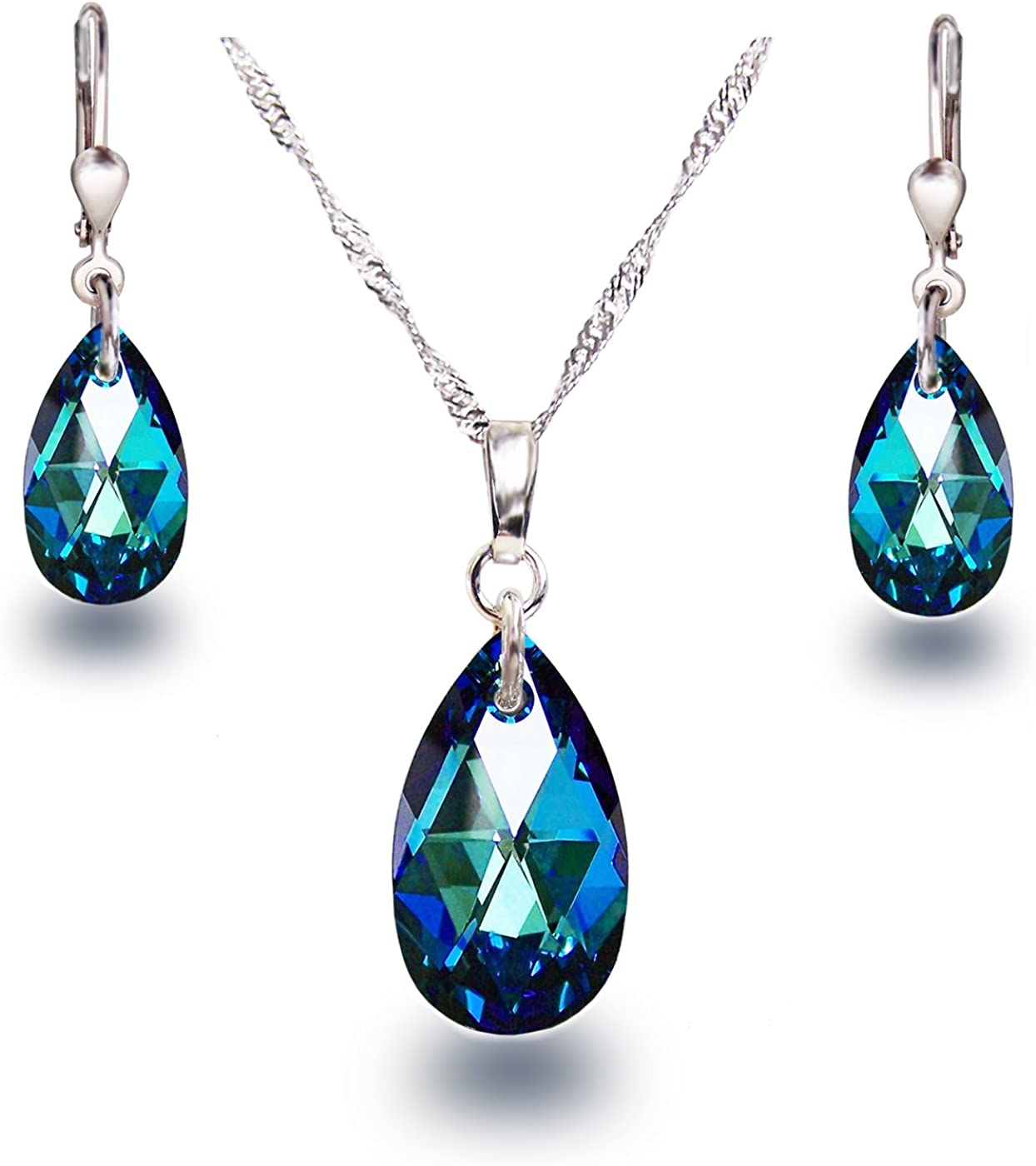 Schöner Schmuck-Design Schöner SD - Juego de Pendientes y Colgante, Cristales Swarovski, Plata 925 rodiada, diseño de Gota, Color Azul