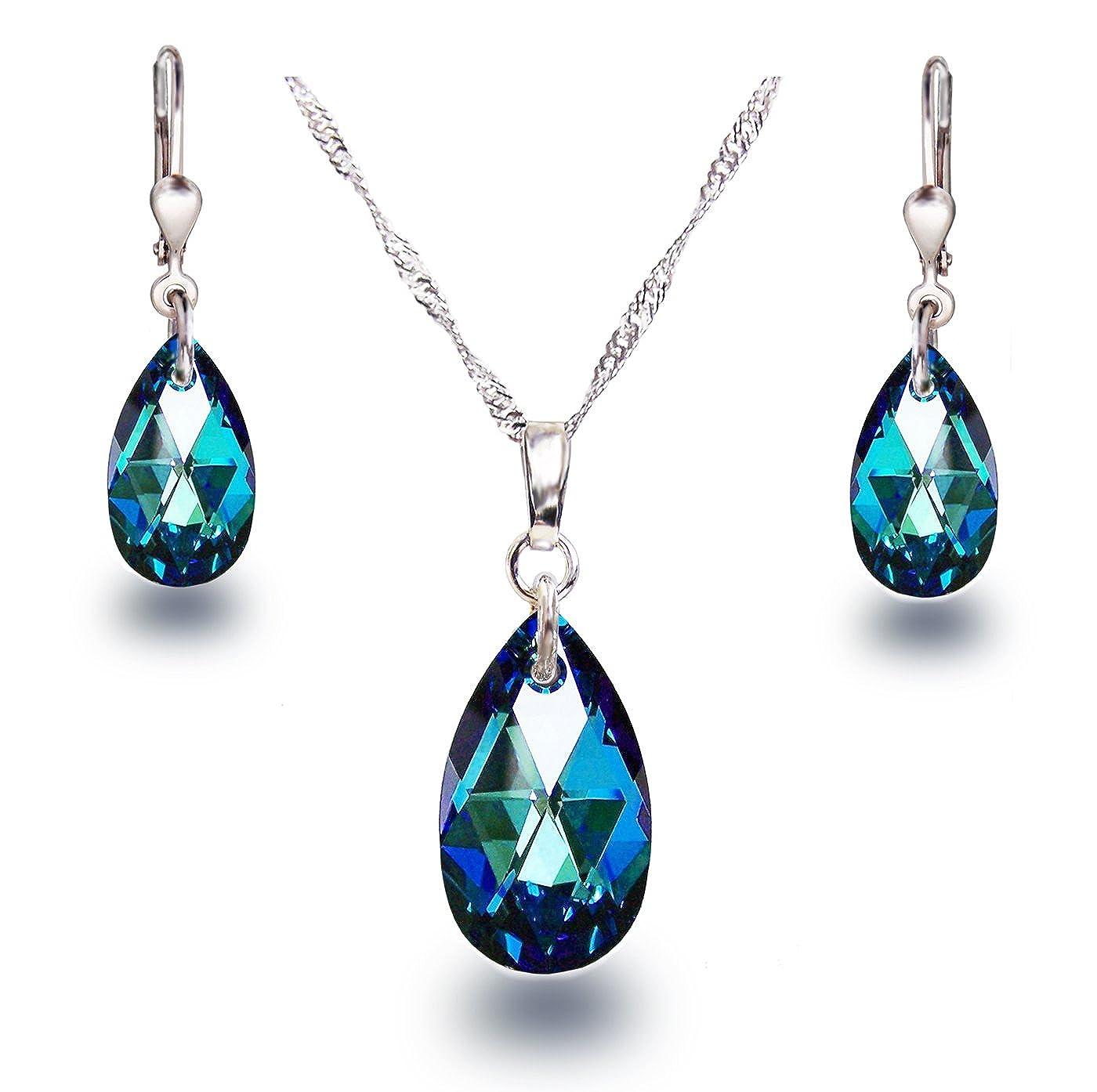 Set parure de bijoux avec cristal de Swarovski/® en forme de goutte et argent rhodi/é 925 Schoener-SD Bleu couleur Bermuda Blue