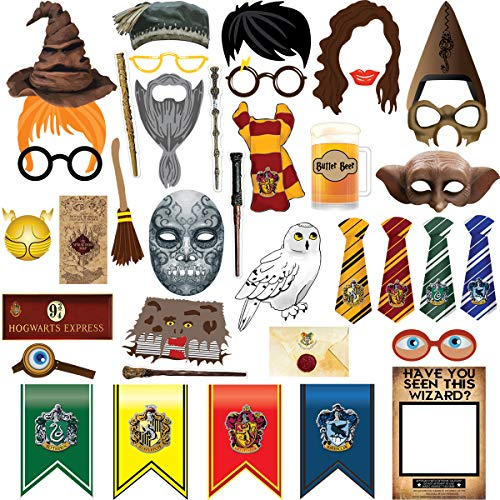 38pcs Magical Wizard Party Photo Booth Props, Wizard Castle Party Photo Booth Props, Magical Wizard School Party Favors Supplies For Kids Children Birthday Party ()