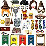 38pcs Magical Wizard Party Photo Booth Props, Wizard Castle Party Photo Booth Props, Magical Wizard School Party Favors Supplies For Kids Children Birthday Party