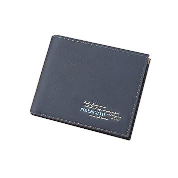 ca697bbef Wewod Tarjeteros y Billeteras/Billetera Bolsillo Hombre/Tarjeteros para  Hombre/Cartera Hombre Pequeña 12 x 10 x 1.5 cm (L * H* W) (Azul-a):  Amazon.es: ...