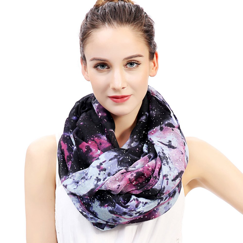 Lina & Lily Cosmic Stars Galaxy Print Women's Infinity Loop Scarf (Blue)