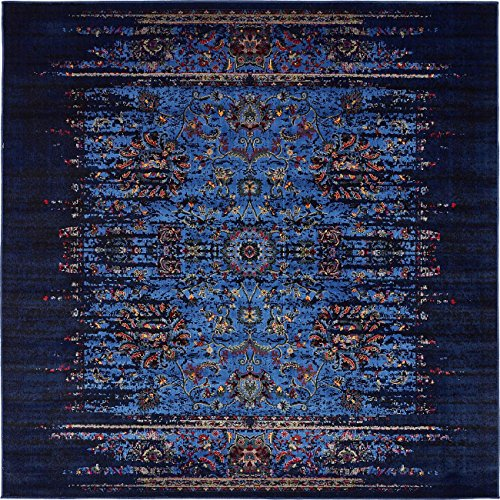 Contemporary Polyester Rug (Vintage Contemporary Inspired Overdyed Distressed Rugs Blue 6' x 6' Chelsea Rug Traditional Area Rug Living room Bedroom Dining room)