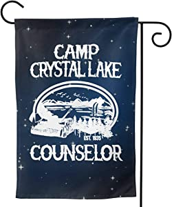 """HOUDIYUANFUSHI Camp Crystal Lake Counselor 1935 Garden Flag Welcome Banner for Patio Lawn Party Yard Home Outdoor Decor, On Both Sides, 12.5""""X18"""" / 28""""X40"""""""