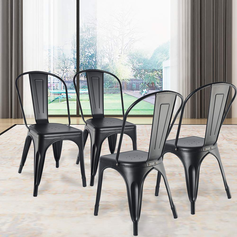 Cspring Metal Dining Chairs Set Of 4 Stackable With Rubber Feet Kitchen Chairs Side Chairs Tolix Farmhouse Industrial Restaurant Trattoria Bistro Cafe Chairs Matte Black Amazon In Home Kitchen