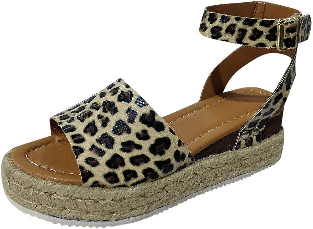 VECDY Sandalias De Leopardo Zapatilla Mujer Verano De Gran Tamaño con Base Gruesa De Cáñamo Y Sandalias De Mujer Cuña 5cm Elegante Popular Zapatos Mujer,2019 Calzados Moda Diseño