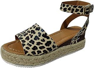 Women Roman Sandal Shoes Lady's Fashion Open Toe Leopard Print Buckle Strap Wedges Peep Toe Flat Sandals