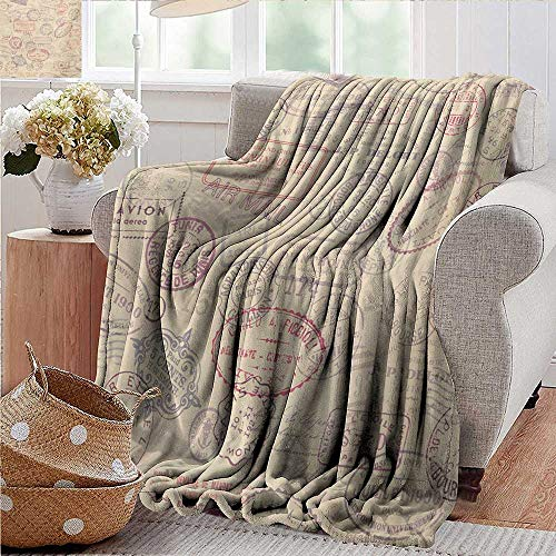 """PearlRolan Custom Sofa Bed Throw Blanket,Vintage,Retro Design Inspired Postage Illustration with Beige Background Antique Stamps,Multicolor,300GSM,Super Soft and Warm,Durable Blanket 50""""x70"""""""