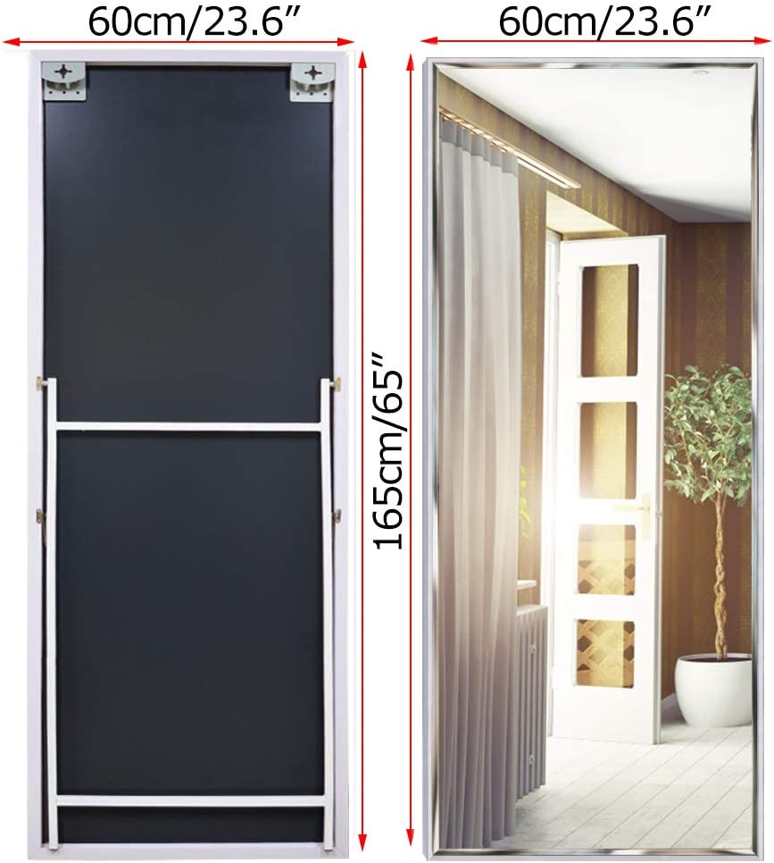 Eono Essentials 65x24 Full Length Mirror with White Frame Large Mirrors for Wall Hanging and Floor Standing Explosion-Proof