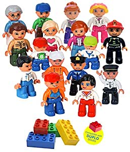 Community Figures Set Lego Duplo Compatible 16 Pieces By Lp Toys- Includes Police Man, Pilot, Farmer, Construction Worker, Conductor, Nurse, Acrobat Girl, Female Zoo Keeper, Mom, Dad, Grand Pa, Kids and More