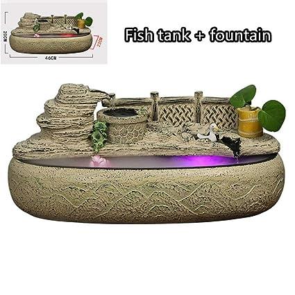 YAMEIJIA Fuente de Mesa con Luces LED, Fuente de Agua de Mesa Escultura Decorativa Tank