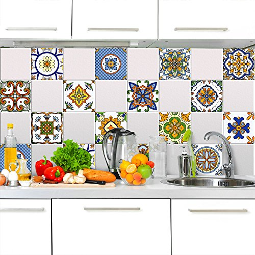wall art PS00076-P Almada Decorative Tile Stickers for Bathroom and Kitchen, vinyl, 20×20 cm – 12 pz