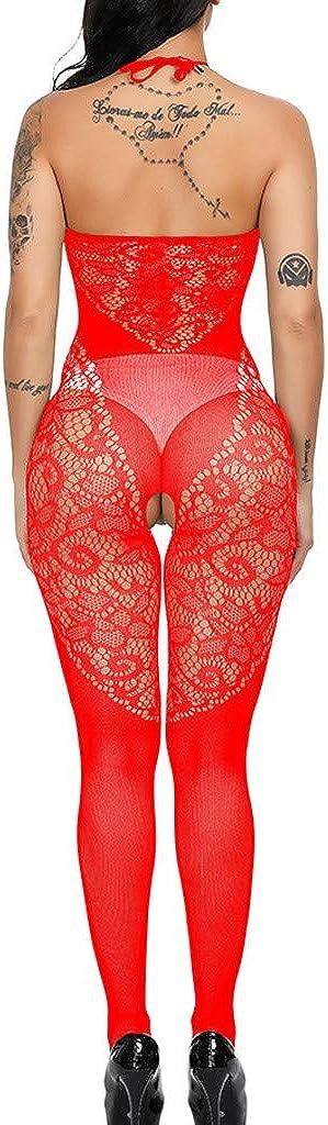 Bringbring Womens Lingerie Babydoll Fishnet Body Stockings Sleepwear Adult Lace Bodysuit