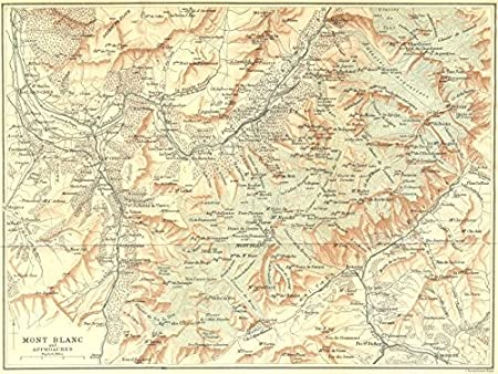 Mont Blanc France Map.France Mont Blanc Approaches 1899 Old Antique Vintage Map